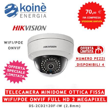 DS-2CD2120F-IV-HIKVISION TELECAMERA MINIDOME OTTICA FISSA WIFI/POE ONVIF FULL HD 2 MEGAPIXEL