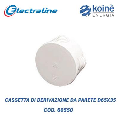 CASSETTA DI DERIVAZIONE DA PARETE D65x35 electraline