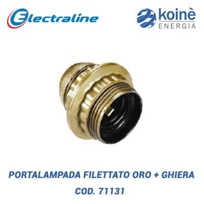 Portalampada filettato oro con ghiera electraline 71131