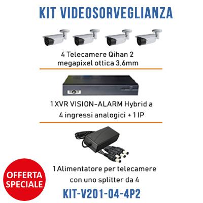 Kit Videosorveglianza KIT-V201-04-4P2 1 xvr Vision 4 Canali