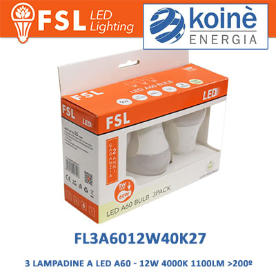 FL3A6012W40K27 3 LAMPADINE A LED FSL